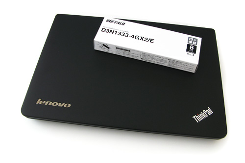 lenovoのThinkPad X121eとBUFFALOのメモリーD3N1333-4GX2/E