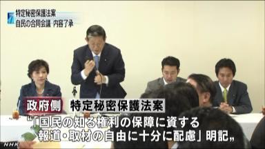 自民 特定秘密保護法案を了承 NHKニュース