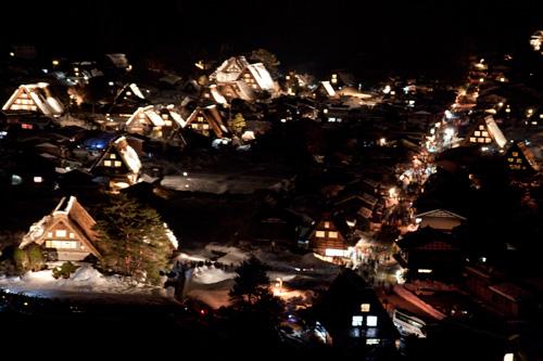 展望台からの白川郷ライトアップ