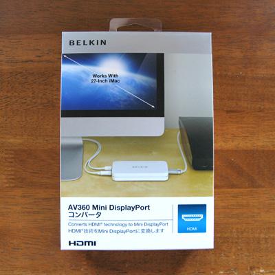 Belkin AV360 Mini DisplayPort コンバータのパッケージ